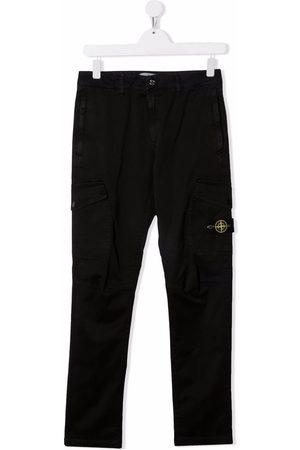 Stone Island Junior TEEN logo-patch cargo trousers