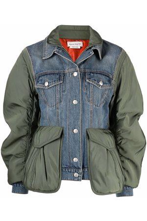 Alexander McQueen Women Denim Jackets - Colour-block denim jacket