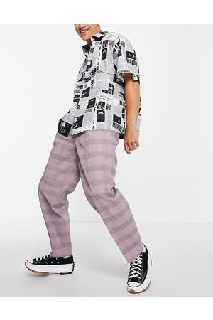 ASOS DESIGN Oversized tapered smart pants in lilac linen check