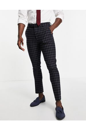 ASOS Wedding super skinny wool mix suit pants with grid window check in navy
