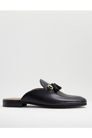 WALK LONDON Terry tassel bar backless mule loafers in leather
