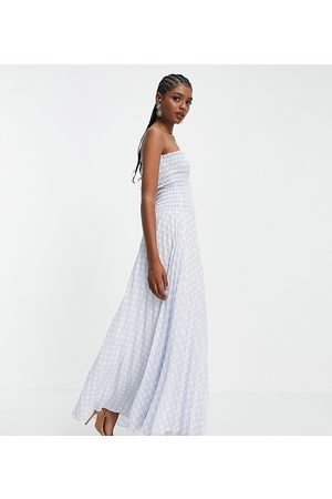 ASOS ASOS DESIGN Tall pleated bandeau maxi dress in blue white gingham-Multi
