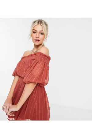 ASOS ASOS DESIGN Petite Off shoulder mini dress with blouson sleeve in self stripe in rust