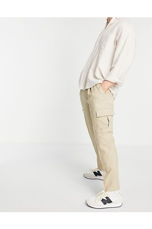 Topman Tapered cargo pants in stone-Neutral