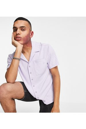 Reclaimed Inspired shirt with revere collar in lilac rib - part of a set