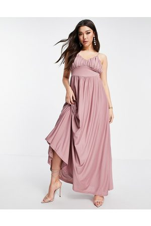 ASOS Spaghetti strap ruched bust maxi dress in rose