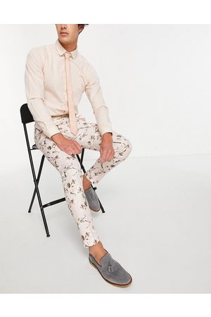 ASOS Wedding skinny suit pants in neutral floral print