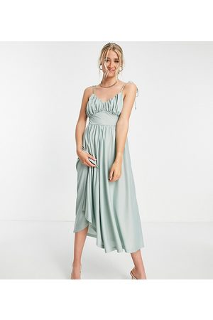 ASOS ASOS DESIGN Tall spaghetti strap ruched bust midi dress in sage