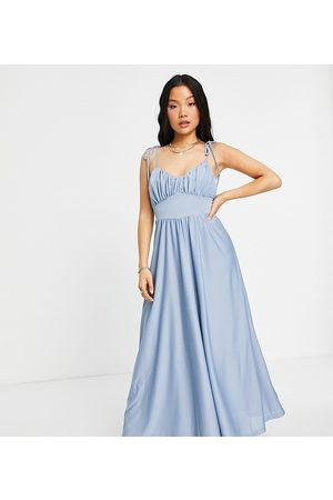 ASOS ASOS DESIGN Petite spaghetti strap ruched bust maxi dress in dusky blue-Blues