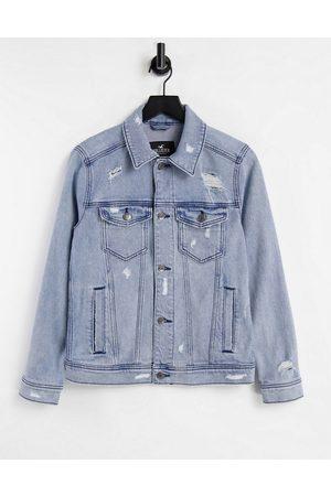 Hollister Indigo denim trucker jacket in medium wash-Blues