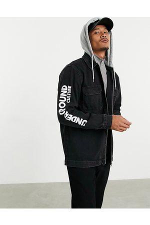 Pull&Bear Denim jacket with jersey hood in