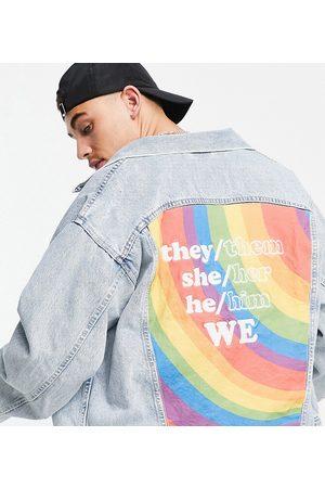Levi's Pride capsule liberation thanks Marsha back print denim trucker jacket in light wash-Blues