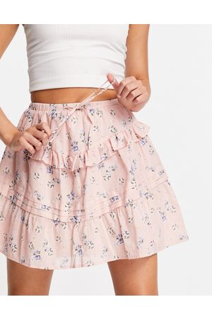 ASOS Tiered mini skirt in pink ditsy floral print-Multi