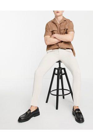 ASOS Men Chinos - Smart super skinny oxford pants in stone-Neutral