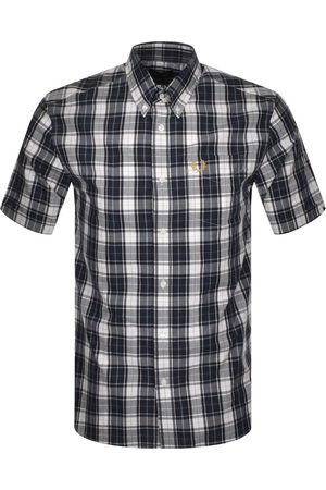 Fred Perry Checked Short Sleeved Shirt Navy