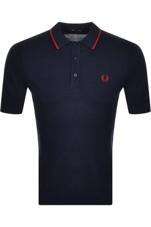 Fred Perry Tipped Knitted Polo T Shirt Navy