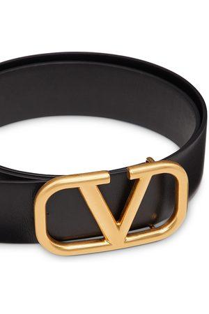 VALENTINO GARAVANI Men's Logo Buckle Leather Belt