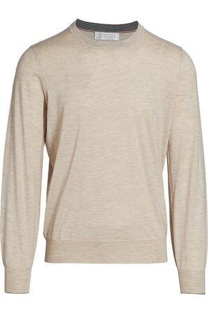 Brunello Cucinelli Men's Wool-Cashmere Blend Sweater - Sand - Size 48