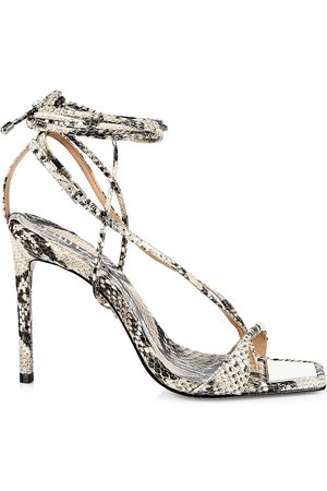 Schutz Women's Vikki Snake-Embossed Leather Lace-Up High-Heel Sandals - Natural - Size 8.5