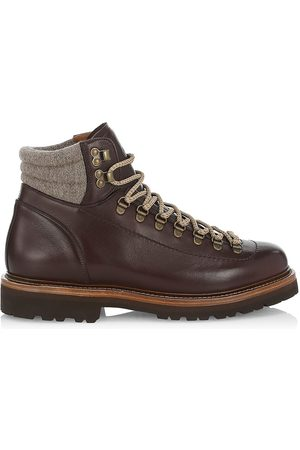 Brunello Cucinelli Men's Lace-Up Leather Mountain Boots - Dark - Size 11