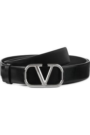 VALENTINO GARAVANI Men's V Logo Leather Belt - Nero - Size 38