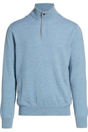 Ermenegildo Zegna Men's Cashmere Quarter-Zip Sweater - Light - Size 38