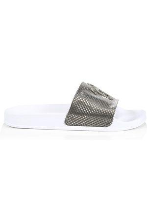 Giuseppe Zanotti Men's Metallic Pool Slides - Anthracite - Size 12 Sandals