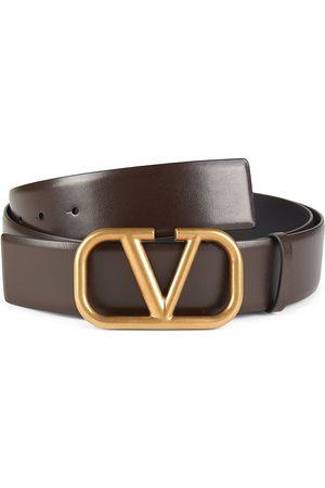 VALENTINO GARAVANI Men Belts - Men's V Logo Leather Belt - Chocolate - Size 40