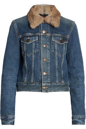 Saint Laurent Women's Natural Rabbit Fur Collar Denim Jacket - Dark Marble - Size XL