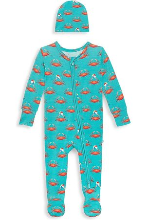 Posh Peanut Baby Boy's 2-Piece Bash Beanie & Footie Set - Turquoise - Size Newborn