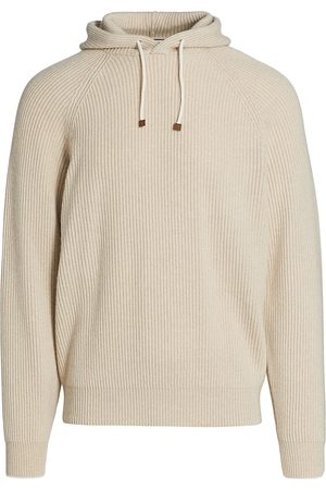 Brunello Cucinelli Men's Ribbed Cashmere Hoodie - Sand - Size Small