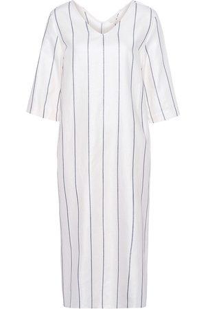Hanro Women's Striped Linen & Cotton Nightgown - Moonlight Stripe - Size Medium