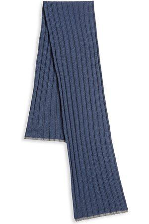 Brunello Cucinelli Men's Ribbed Cashmere Scarf - Navy