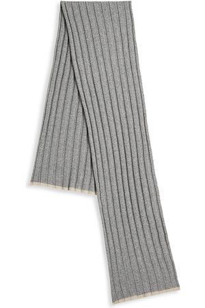 Brunello Cucinelli Men's Ribbed Cashmere Scarf - Light Grey