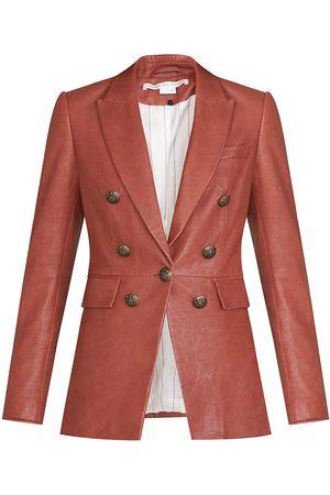 VERONICA BEARD Women's Gaya Dickey Leather Jacket - Rust - Size 4