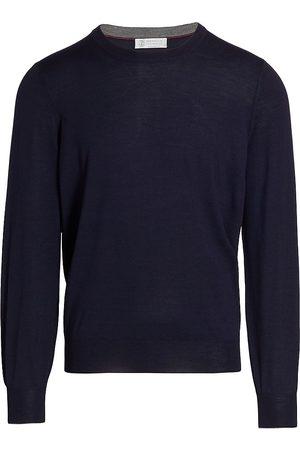 Brunello Cucinelli Men's Wool-Cashmere Blend Sweater - Navy - Size 48