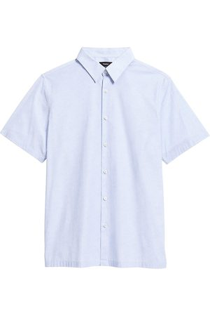 THEORY Men Short sleeves - Men's Irving Wave Grid Shirt - Misty - Size Medium