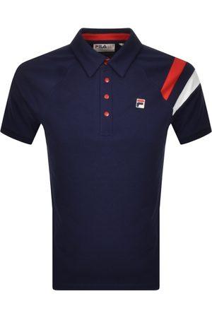 Fila Men Polo Shirts - Gabriel Raglan Polo T Shirt Navy
