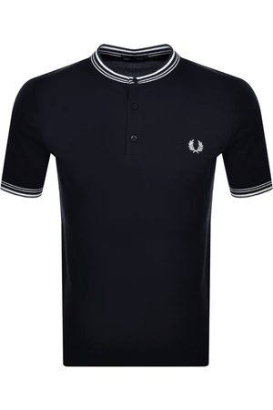 Fred Perry Men Polo Shirts - Striped Henley Polo Shirt Navy
