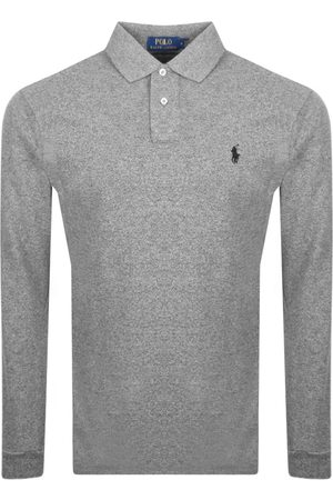 Ralph Lauren Men Long Sleeve - Long Sleeve Polo T Shirt Grey