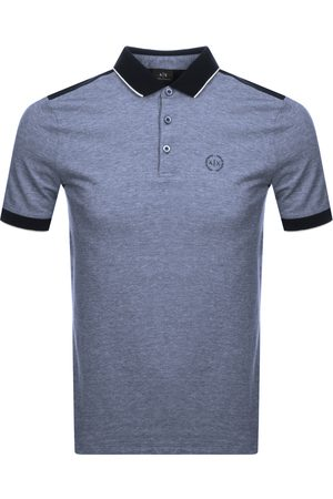 Armani Two Tone Polo T Shirt Navy