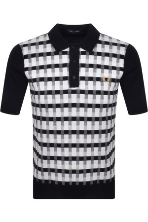 Fred Perry Abstract Checked Polo T Shirt Navy