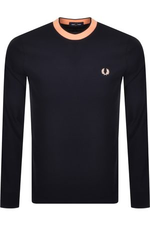 Fred Perry Long Sleeve Crepe T Shirt Navy