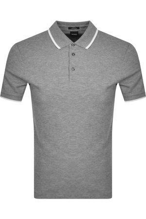 HUGO BOSS BOSS Penrose 34 Zip Polo T Shirt Grey
