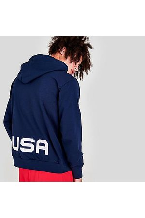 Nike Men Hoodies - Men's Standard Issue Team USA Basketball Pullover Hoodie in /College Navy Size Small Cotton/Polyester/Satin