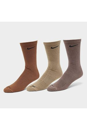 Nike Men Socks - Everyday Plus Lightweight Training Crew Socks (3 Pack) in Brown/Orange/Beige/Multi-Color Size Large Cotton/Nylon/Polyester