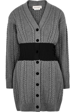 Alexander McQueen Grey cable-knit wool-blend cardigan