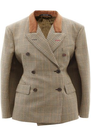 Maison Margiela Women Ponchos & Capes - Double-breasted Houndstooth Wool Cape Jacket - Womens - Multi