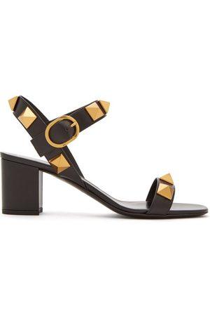 VALENTINO GARAVANI Roman Stud Block-heel Leather Sandals - Womens