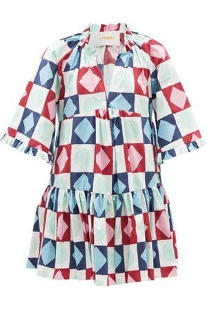 La DoubleJ Dove Diamond Dots-print Cotton Mini Dress - Womens - Burgundy Print